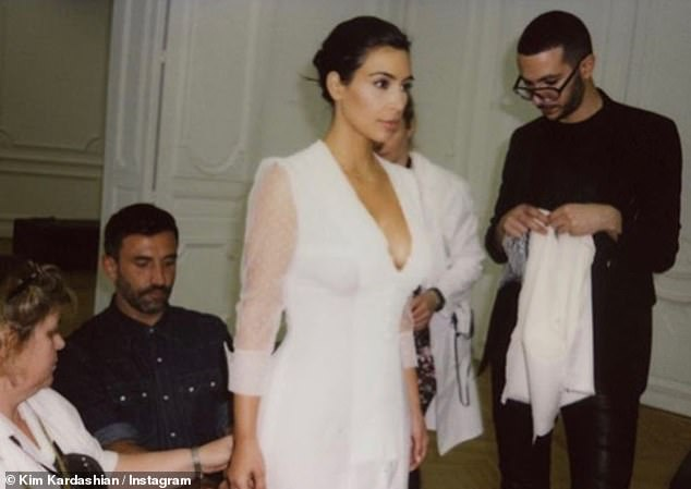 Remember when: The Italian fashion designer was the brains behind Kim's wedding dress when she married Kanye in Florence six years ago