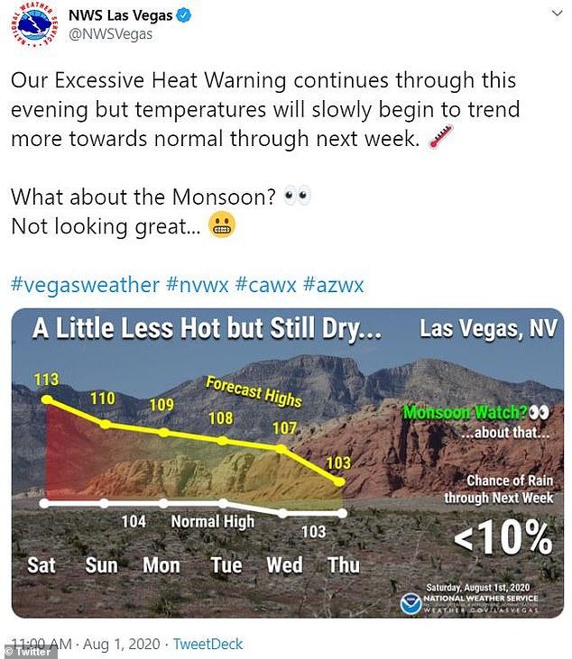 Temperatures in Las Vegas were 113 degrees on Saturday