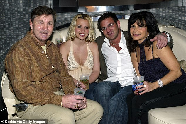 From l-r: Jamie Spears, Britney Spears, her brother Bryan Spears and mother Lynne at the launch party for the Palms Home Poker Host software held in Las Vegas in 2006