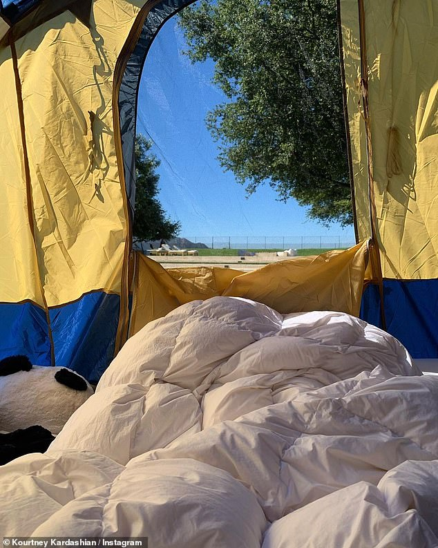 Rise and shine: As the sun rose on Saturday morning after camp-out, Kourtney left over 98 million viewers on her view