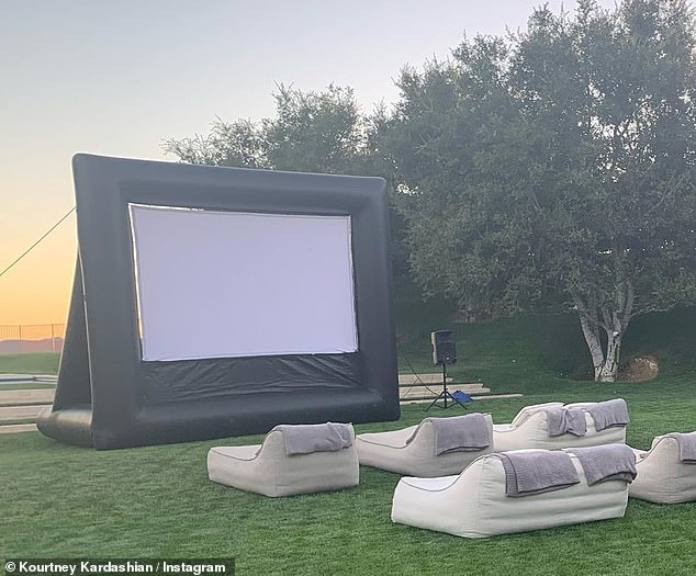Improvisation: The 41-year-old reality TV star organized the excursion in her own backyard, setting up a tent and an outdoor movie theater in her home