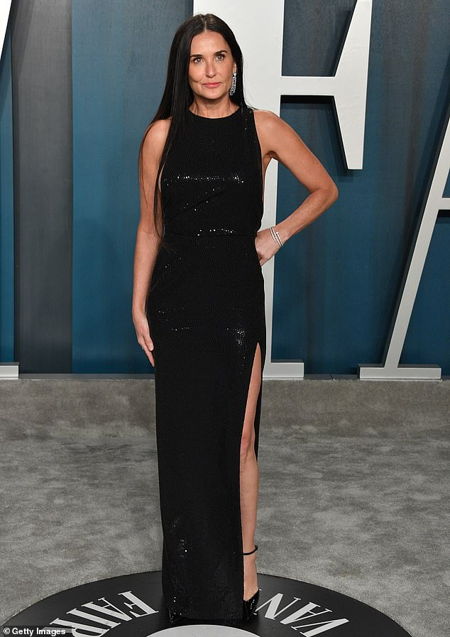 Demi Moore pictured attending the 2020 Vanity Far Oscar party hosted by Radhika Jones at Wallis Annenberg Center for the Performing Arts in February in Beverly Hills, California
