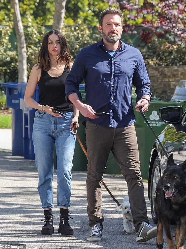 In love:Ana and Ben first went public with their relationship in March, after filming their erotic thriller Deep Water in the fall of last year: Ana and Ben pictured in April