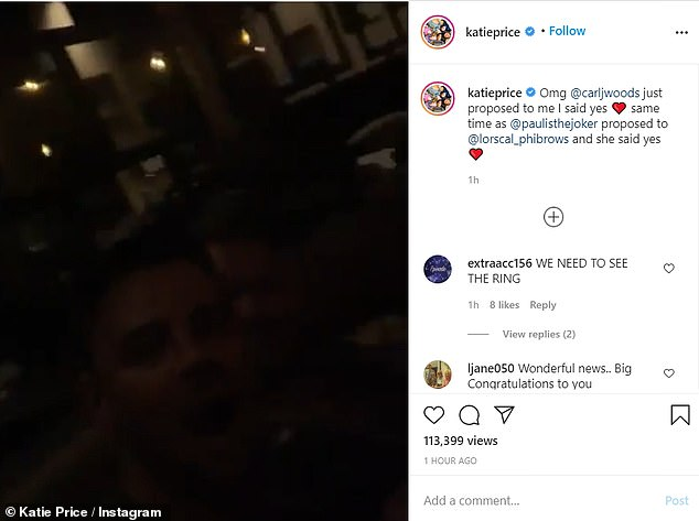 Wedding bells? In a video shared to Instagram, Katie and Carl are seen celebrating a friend's engagement, before Carl seemingly pops the question to Katie