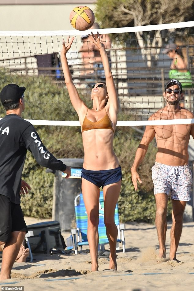 Impressed:The men competing against Ambrosio appeared beyond impressed with her abilities