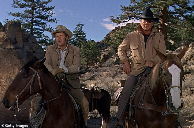 Brimley had an uncredited role as an extra on the 1969 Western hit True Grit, with John Wayne (right) and Glen Campbell (left)