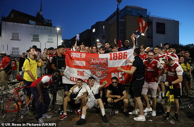 Club supporters also gathered outside the Emirates Stadium to celebrate the victory