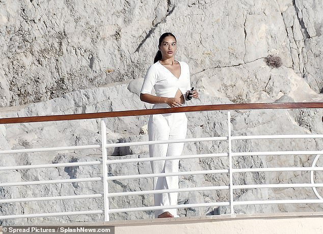 Beauty: The model made sure to take in the stunning views from the balcony of theHotel du Cap Eden Roc
