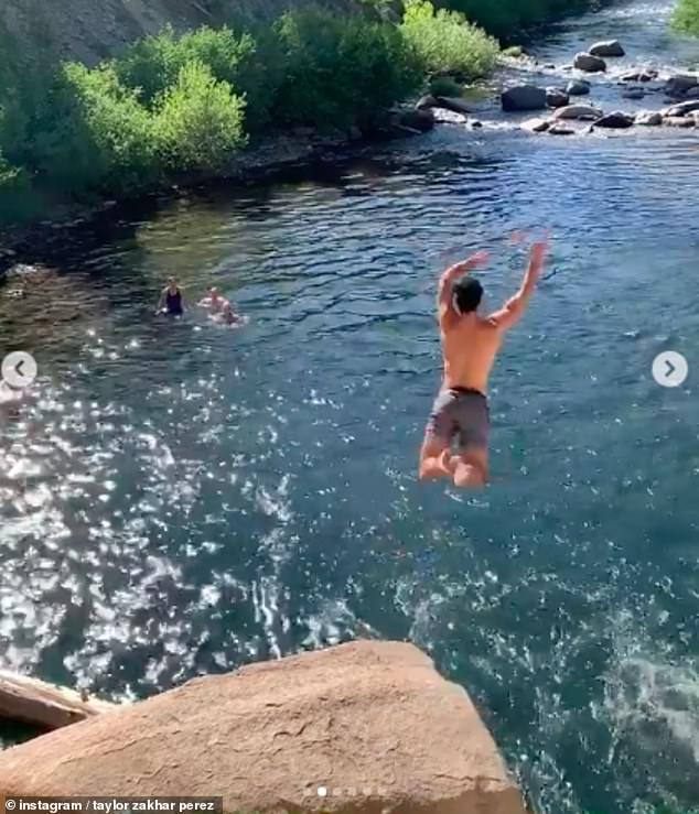 He's brave! Taylor launched himself into the water during their stop at the waterfall