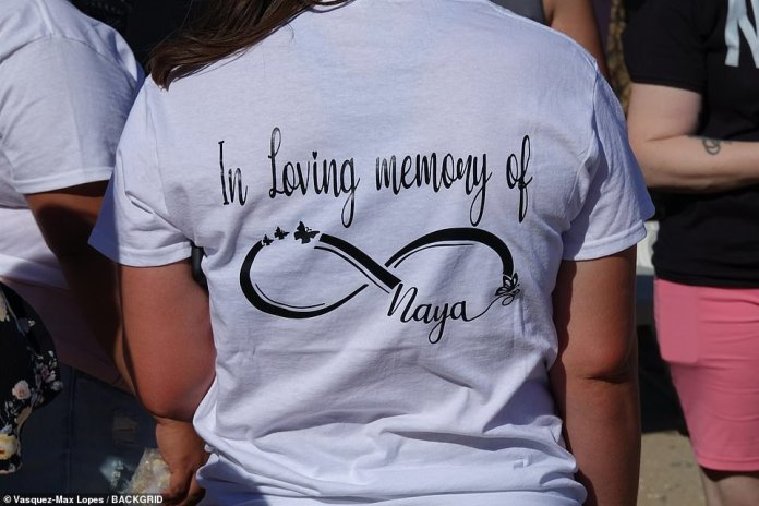 Many of the attendees wore matching t-shirts with an infinity sign, butterflies and the words: 'In memory of Naya'