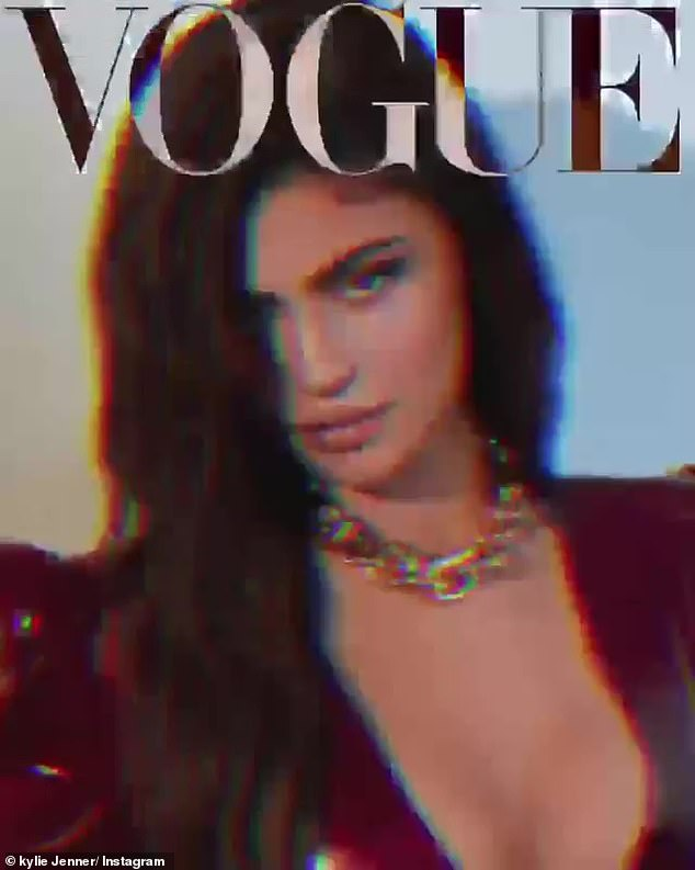 Gorgeous: For her second look, Jenner's hair was pulled back and she donned a pair of gold hoops