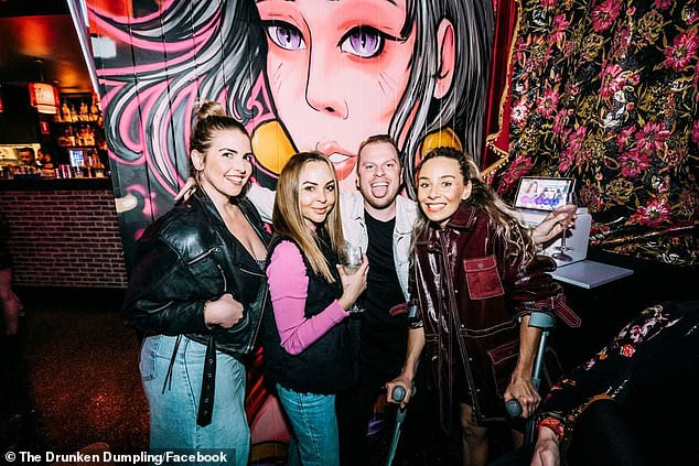 Enjoying the single life! The Bachelorette's Angie Kent (second from left) hit a Sunshine Coast nightclub with friends last weekend, after confirming her split from Carlin Sterritt