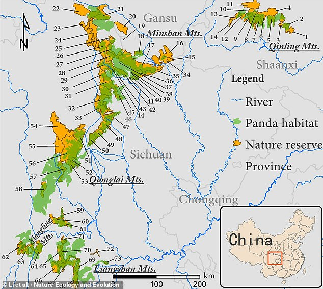 In their study, biologist Sheng Li of Peking University and colleagues examined 73 of China's wildlife protection areas, pictured, 66 of which were giant panda nature reserves