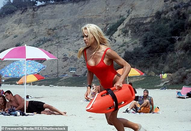 Looks familiar: Pamela Anderson's slow-motion sprint in the opening credits of the show Baywatch is world famous. Pictured: Pamela Anderson in Baywatch
