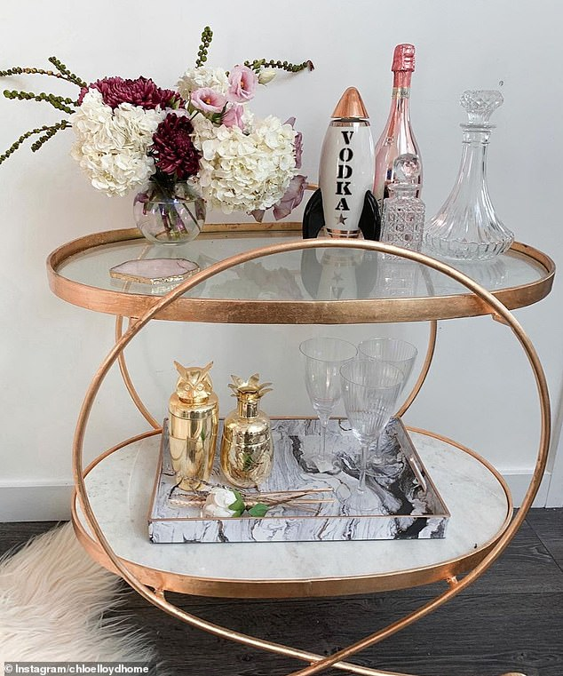 12. DRINK CART: Chloe, from Surrey, who runs the Chloe Lloyd Home account, shared their new copper and marble drinks trolly decorated with glasses, a cocktail shaker and flowers