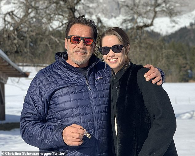 Now: She also included a more recent photo with the father-of-five as they enjoyed the snow on a trip together, when wishing him a happy birthday earlier this month