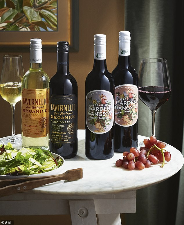 Aldi in August launched bottles of organic Shiraz and Cabernet Sauvignon (centre-right and right) for $9.99 and vegan-friendly Pinot Grigio and Sangiovese (left and centre-left) for $6.99