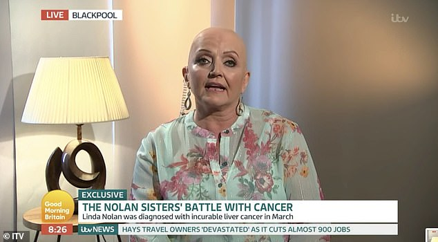 Sad news:Linda Nolan, 61, has revealed she was diagnosed with cancer just half an hour after her sister Anne learned she was battling the disease