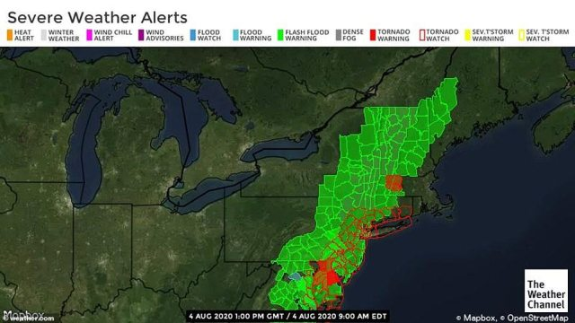 Flash flood and tornado warnings have been issued for multiple states, including New York