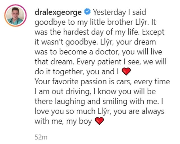 """Farewell: Earlier today, the reality TV star posted another heartbreaking tribute to her younger brother: """"Yesterday I said goodbye to my little brother Ll¿r. It was the hardest day of my life '"""