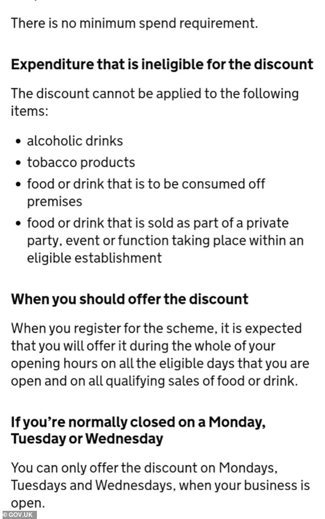 The rules for the Eat Out To Help Out program have been posted.  They expressly prohibit spending a minimum of £ 10