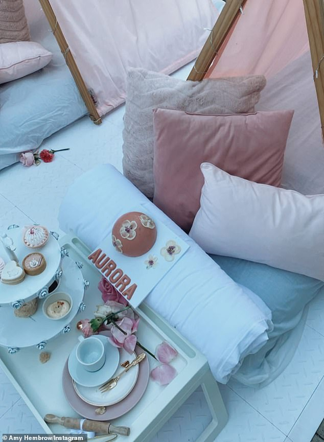 Picture perfect!The extravagant set-up included two rows of child-sized pink teepees, each propped up in front of a table laden with petit fours and tea sets. Fluffy pink cushions, small pink balloons and adorable flamingo dolls were also placed in front of the tents