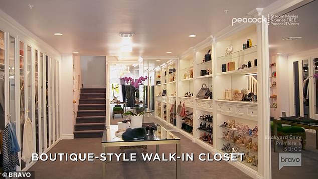 Closet:But all that paled in comparison to the giant walk-in closet Tracy encountered on one level, which was lit and designed to look like a small boutique
