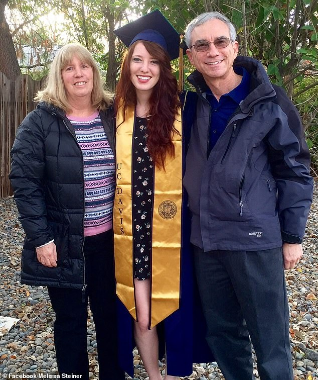 Dr Steiner (pictured on her graduation at a Californian University) had relocated to Australia to study a few years ago then decided to stay