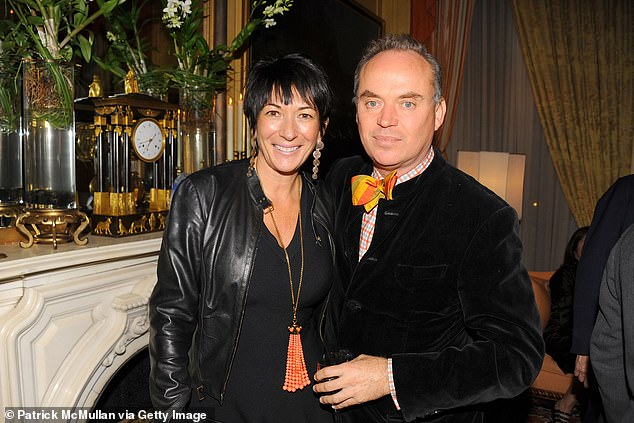 Former friend of Ghislaine Maxwell, Christopher Mason, 54, pictured with Maxwell in 2013, has revealed details of the 'creepy' song he was commissioned to perform at the birthday of Jeffrey Epstein