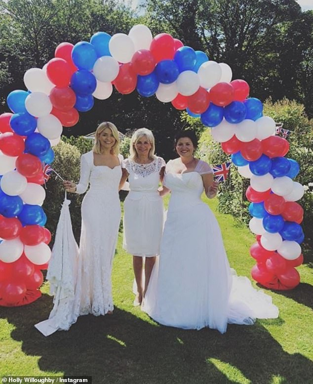 Wedding bells: The TV presenter confessed her dress was 'dirty' and even a bit torn after her wedding day, before wearing it again to celebrate Prince Harry and Meghan's wedding