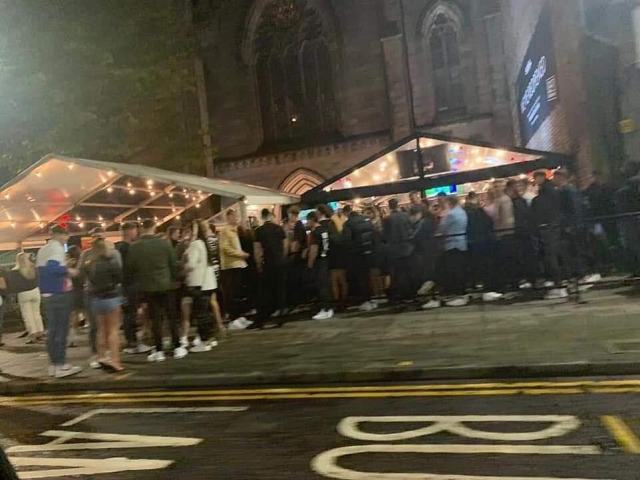 Large crowds of revellers gather outside Soul Bar on Union Street in Aberdeen city centre on Saturday evening