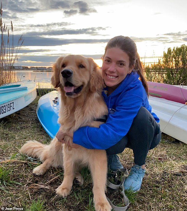 Hudson's owner Allissa Crea (pictured with Hudson), 32, from New York, said her dog had now managed to overcome his fear of the sea