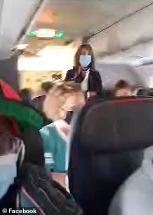 Johns covered the mask with a disposable one but says the flight attendant still got her booted off