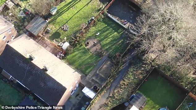 A still taken from the dramatic drone footage. Derbyshire Police posted the video to show how the high-tech piece of kit busted the criminals