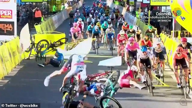 The crash also sent multiple riders to the ground as they tried to avoid what lay ahead of them