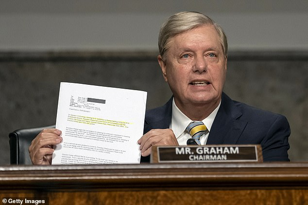 "Chairman Sen. Lindsey Graham (R-SC) speaks during a Senate Judiciary Committee hearing on ""Oversight of the Crossfire Hurricane Investigation"" on Capitol Hill on August 5, 2020 in Washington, DC. Crossfire Hurricane was an FBI counterintelligence investigation relating to contacts between Russian officials and associates of Donald Trump"