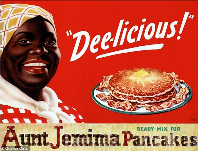 'I don't even depict that as racist,' the 77-year-old mayor said. 'I ate Aunt Jemima all my life.' Older imagery of the mammy stereotype is pictured on the Aunt Jemima brand