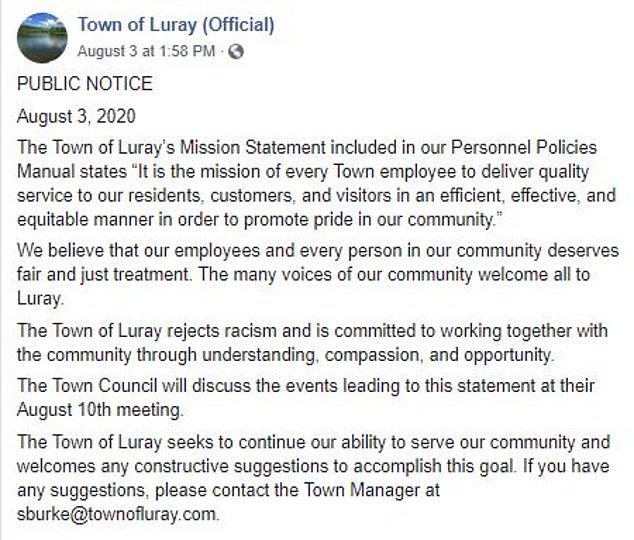 'The many voices of our community welcome all to Luray,' the Facebook post from the town said on Monday. There are 200 black people in the town of 5,000