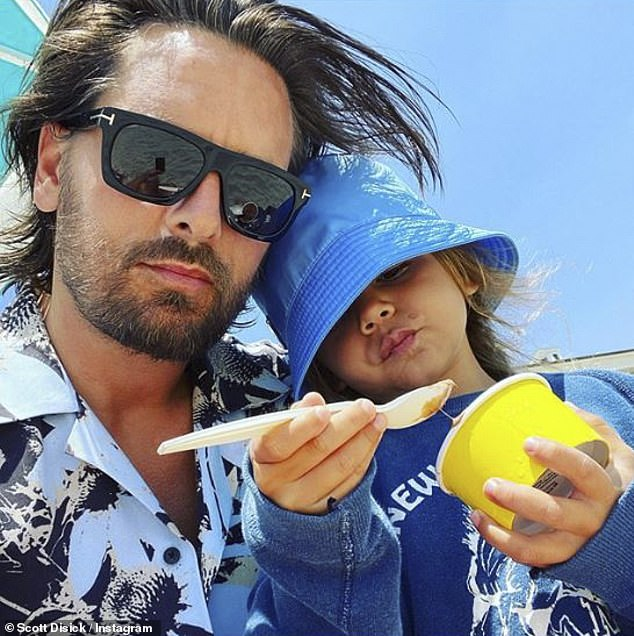 Doting dad:The Keeping Up With The Kardashians star co-parents Reign, son Mason, 10, and daughter Penelope, seven, with her former long-term partner Scott Disick, 37 (pictured)