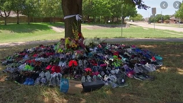 The local Plano community has rallied around Sen's devastated family following the brutal attack, with dozens of pairs of running shoes left in tribute to the keen jogger near the site of her death