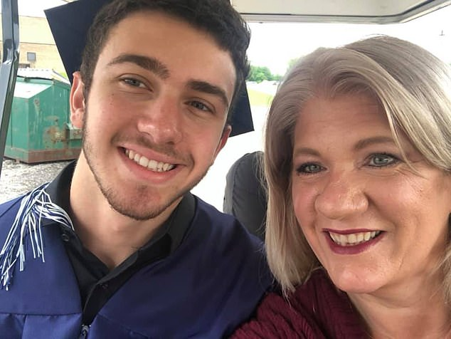Michael Barbuto, seen here in May, was charged after a number of witnesses told investigators how a Honda sedan had been parked up in front of his brother's house when the shooting occurred. The car belonged to his mother, Michelle, seen right