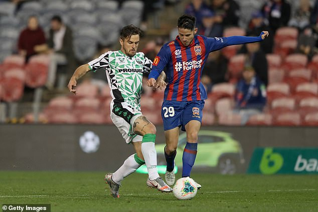 The positive coronavirus case attended the Newcastle Jets game from 7.30pm on Sunday. Pictured: Connor O'Toole of the Newcastle Jets is contested by Josh Risdon of Western United on Sunday