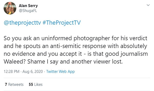 A collection of tweets after the segment aired on Wednesday, with viewers accusing the program of allowing 'anti-semitism' in the report