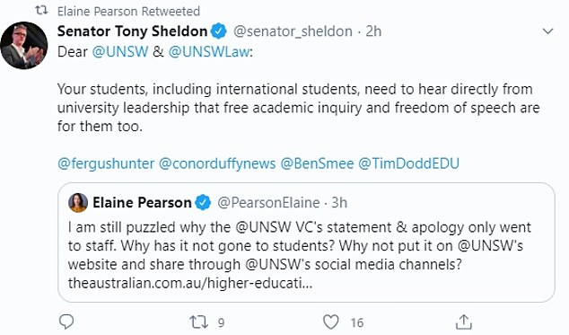 NSW Labor senator Tony Sheldon, a critic of China within the centre-left party, echoed her call on Twitter