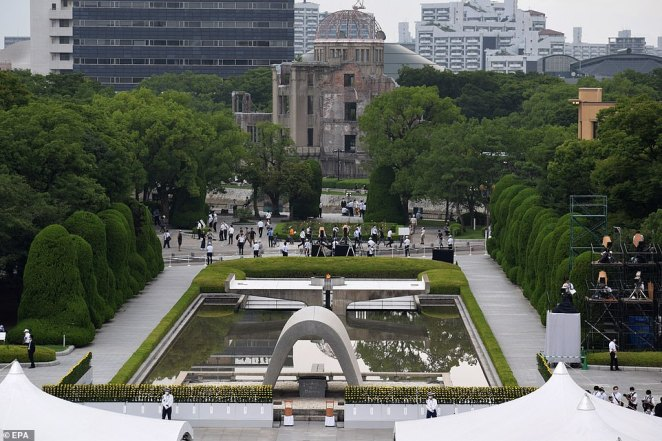 An upsurge of coronavirus cases in Japan meant a much smaller turnout than had been expected at thePeace Memorial Park within view of the Atomic Bomb Dome (pictured)