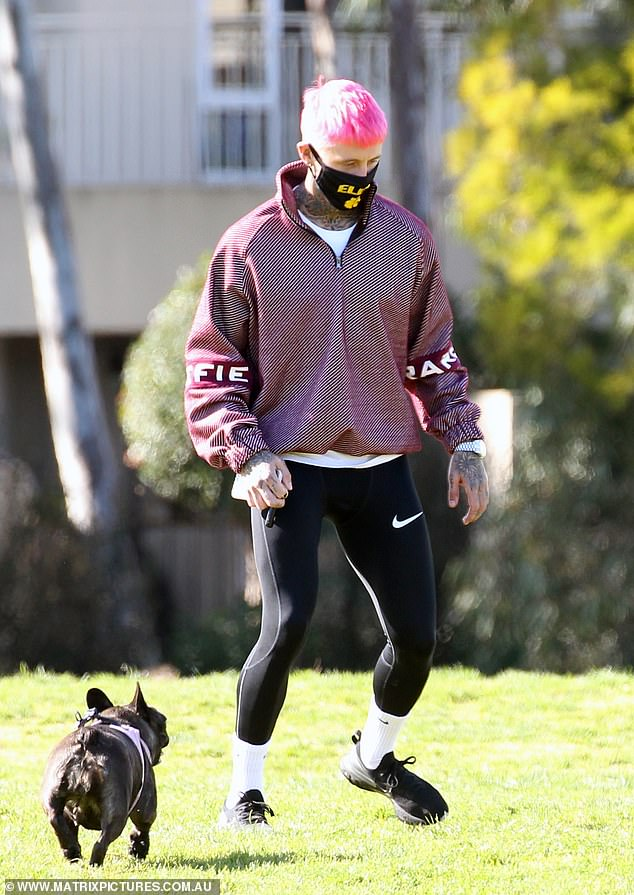 Sporty: The reality star added to his sporty look with a pair of tight leggings and white socks, both from Nike