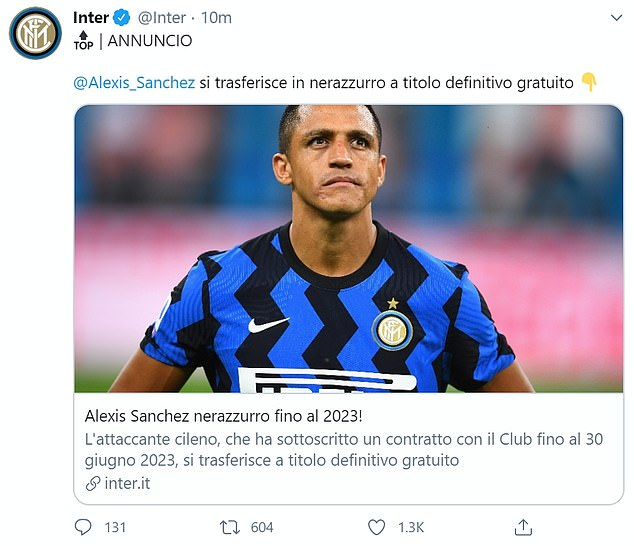 Inter announced the permanent signing of the Chilean forward on Thursday morning