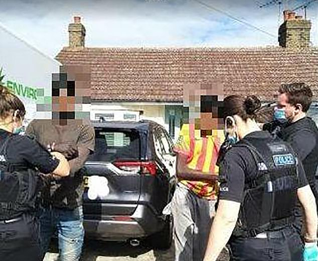 Dean Darke, 60, and wife May caught the men crawling out on their driveway in Basildon, Essex, after the journey last Wednesday