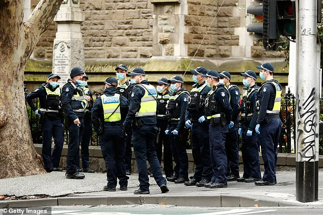 Melbourne has been in stage-four lockdown since Sunday night. Pictured is a heavy police presence in Melbourne on Wednesday