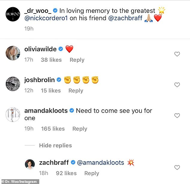 Honoring his memory: Amanda commented: 'Need to come see you for one,' to which Zach responded with a star emoji